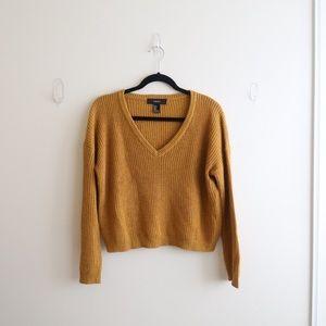 Forever21 Mustard Cropped V-Neck Sweater